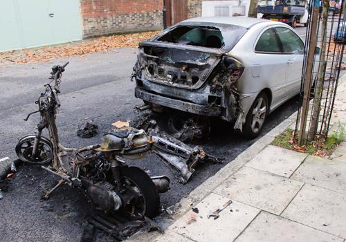 Arson Mercedes and Moped