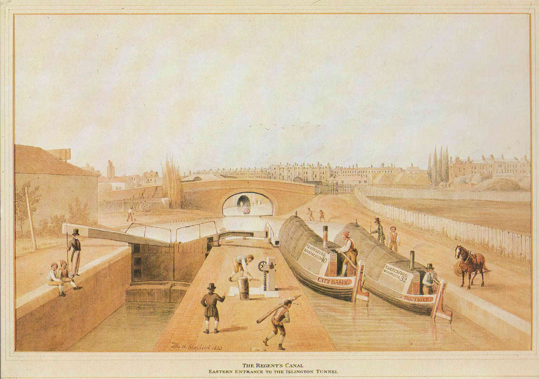 The Regent's Canal, eastern entrance to the Islington Tunnel Thomas H. Shepherd 1823.